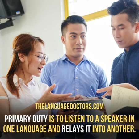 What duties should an interpreter carry out on the job