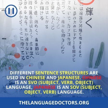 Difference between Japanese and Chinese Structure of Grammar
